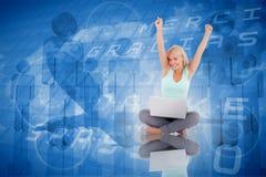 Composite image of joyful woman with a notebook Stock Photos