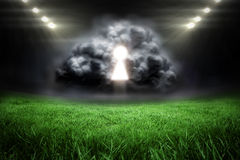 Composite image of keyhole in grey cloud Royalty Free Stock Images