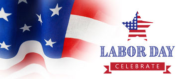 Composite image of labor day celebrate text and star shape american flag. Labor day celebrate text and star shape American flag against full frame of wrinkled Stock Image