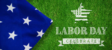 Composite image of labor day celebrate text and star shape american flag Stock Photography