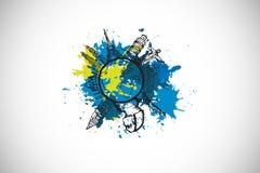 Composite image of landmark concept on paint splashes Stock Image