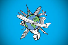 Composite image of landmarks of the world with airplane doodle Royalty Free Stock Photo