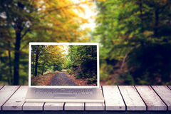 Composite image of laptop royalty free stock photos