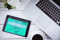 Composite image of learn english interface Royalty Free Stock Photos
