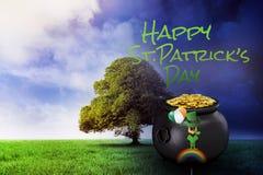 Composite image of leprechaun on rainbow Stock Images