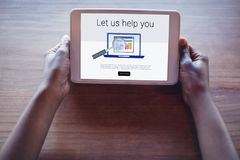 Composite image of let us help you text with computer icon Stock Photography