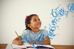 Composite image of letter and number jumble. Letter and number jumble against young girl writing in her book against white background Royalty Free Stock Images