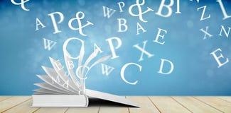 Composite image of letters. Letters against light design shimmering on silver stock illustration