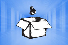 Composite image of light bulb and box doodle Royalty Free Stock Photo