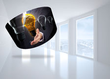 Composite image of light bulb graphic on abstract screen Stock Photos