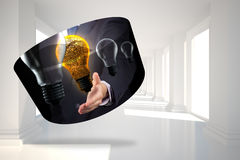Composite image of light bulb graphic on abstract screen Stock Images