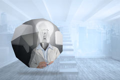 Composite image of light bulb man on abstract screen Stock Photos