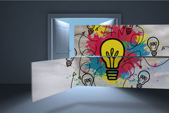 Composite image of light bulb and paint splashes on abstract screen Royalty Free Stock Photography