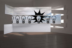 Composite image of light bulbs on abstract screen Royalty Free Stock Photography