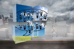 Composite image of light bulbs in speech bubble on abstract screen Royalty Free Stock Images
