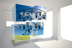 Composite image of light bulbs in speech bubble on abstract screen Stock Photos