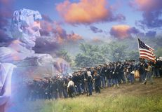 Composite image of Lincoln Memorial and Civil War soldiers in battle Stock Images