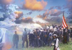 Composite image of Lincoln Memorial and Civil War soldiers in battle Royalty Free Stock Photography
