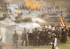 Composite image of Lincoln Memorial and Civil War soldiers in battle with U.S. Constitution Royalty Free Stock Photo