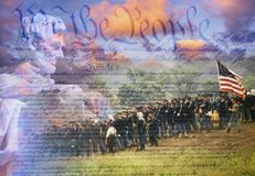 Composite image of Lincoln Memorial and Civil War soldiers in battle with U.S. Constitution Stock Image