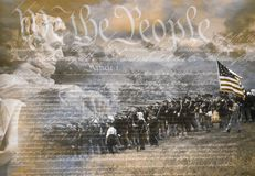 Composite image of Lincoln Memorial and Civil War soldiers in battle with U.S. Constitution Stock Photo