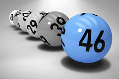 Composite image of line of lottery balls. Line of lottery balls against grey background Royalty Free Stock Photos