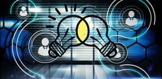 Composite image of linking light bulbs Stock Photos