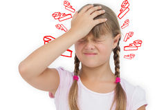 Composite image of little girl with headache Stock Image