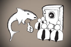 Composite image of loan shark and finance doodles. Loan shark and finance doodles against grey background with vignette Stock Photos