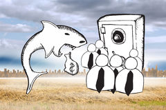 Composite image of loan shark and finance doodles Royalty Free Stock Images