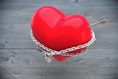 Composite image of locked heart Stock Photo