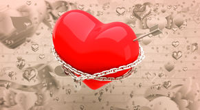 Composite image of locked heart 3d Royalty Free Stock Photo