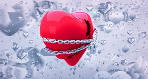 Composite image of locked heart 3d Royalty Free Stock Photos
