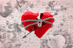 Composite image of locked heart 3d Stock Photo