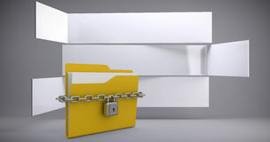 Composite image of locked yellow folder Royalty Free Stock Photos