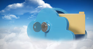 Composite image of locker in cloud shape with folder 3d Royalty Free Stock Photo