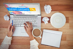 Composite image of logo of a search bar in which news update is written Royalty Free Stock Images