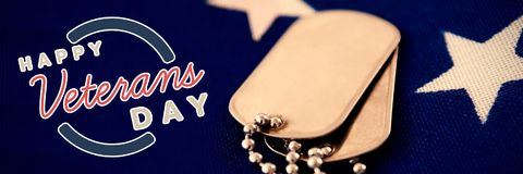 Composite image of logo for veterans day in america. Logo for veterans day in america  against close-up of dog tag pendant on flag Stock Photography