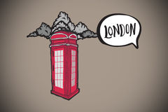 Composite image of london doodle with phone box Royalty Free Stock Image