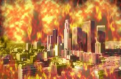 Composite image of Los Angeles engulfed in flames due to global warming Royalty Free Stock Photo