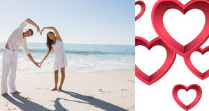 Composite image of loving couple forming heart shape with arms. Loving couple forming heart shape with arms against pink hearts Royalty Free Stock Photography
