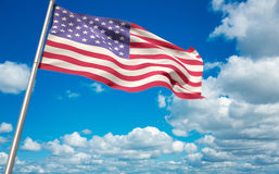 Composite image of low angle view of american flag. Low angle view of American flag against scenic view of blue sky Stock Photos