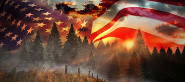 Composite image of low angle view of american flag on metal pole. Low angle view of American flag on metal pole against country scene Stock Photos