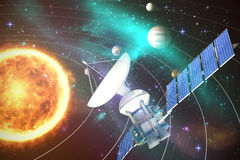 Composite image of low angle view of3d solar power satellite Royalty Free Stock Images