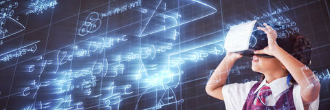 Composite image of low angle view of digitally generated image of mathematical problems stock illustration
