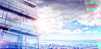 Composite image of low angle view of facade of office building. Low angle view of facade of office building against landscape of city and cloudy sky Stock Images