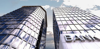 Composite image of low angle view of modern bank buildings. 3d Low angle view of modern bank buildings against view of blue sky and cloud Stock Photography