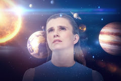 Composite image of low angle view of sad woman looking up 3d Royalty Free Stock Photography