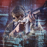 Composite image of low angle view of soldier aiming with rifle Stock Photos