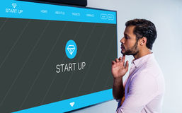 Composite image of main web page on startup website Royalty Free Stock Photos